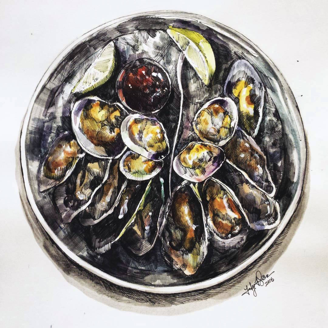 Painted sketched of oysters from dinner  Watercolor, ink