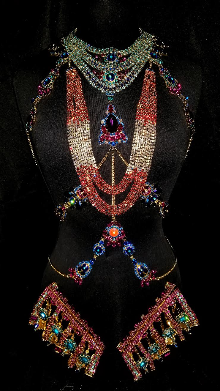 Carnival Regalia   Body harness, necklace, and forearm cuffs for Trinidad + Tobago Carnival 2019
