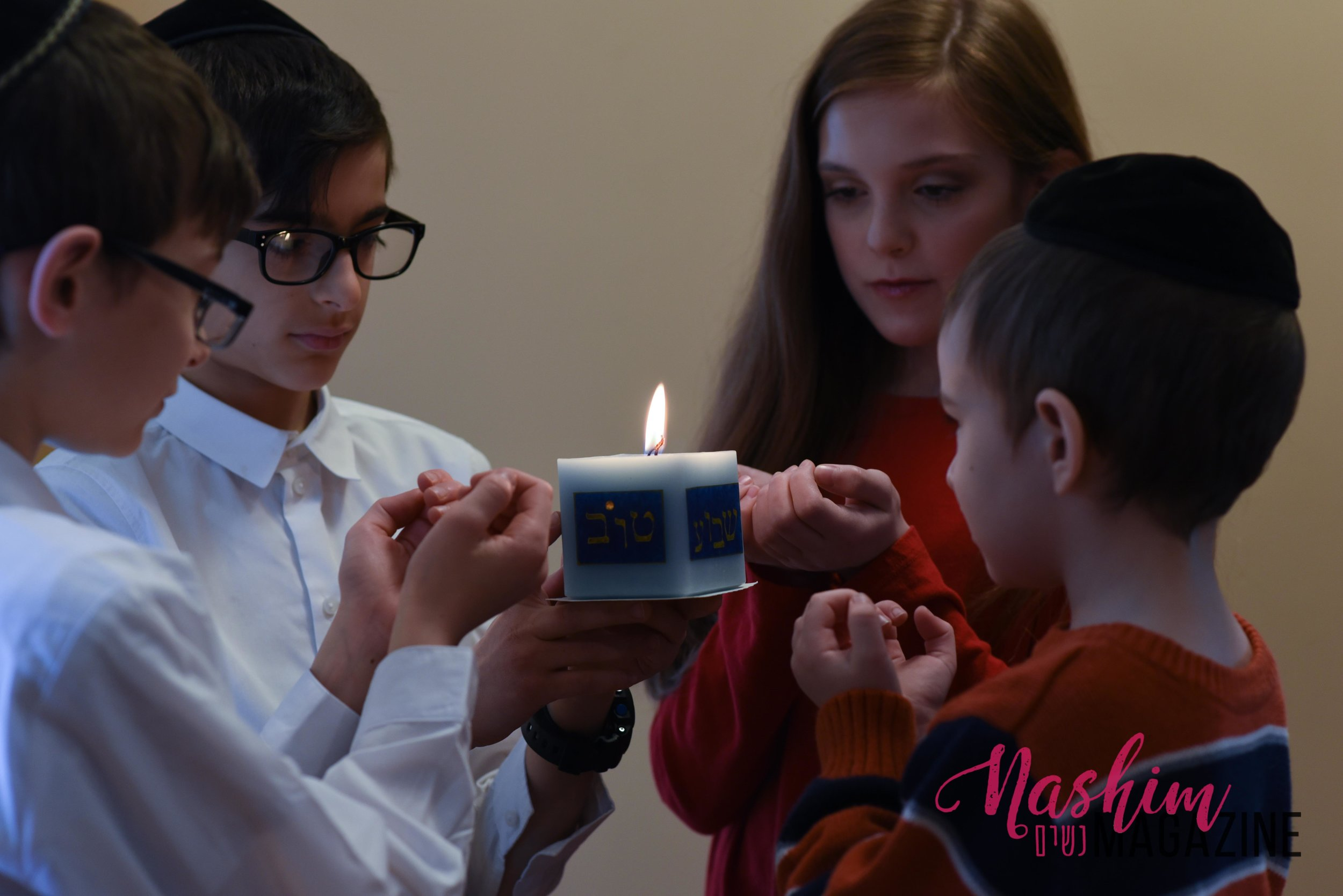 The kiddos with our new beautiful havdala candle