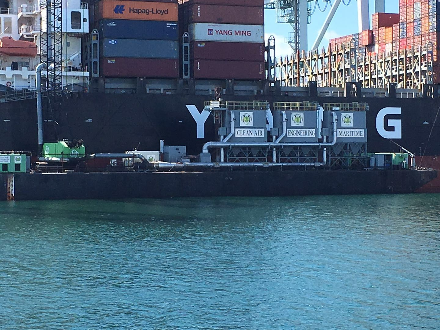 A cargo ship docked in the Port, powered by Alternative Maritime Power.
