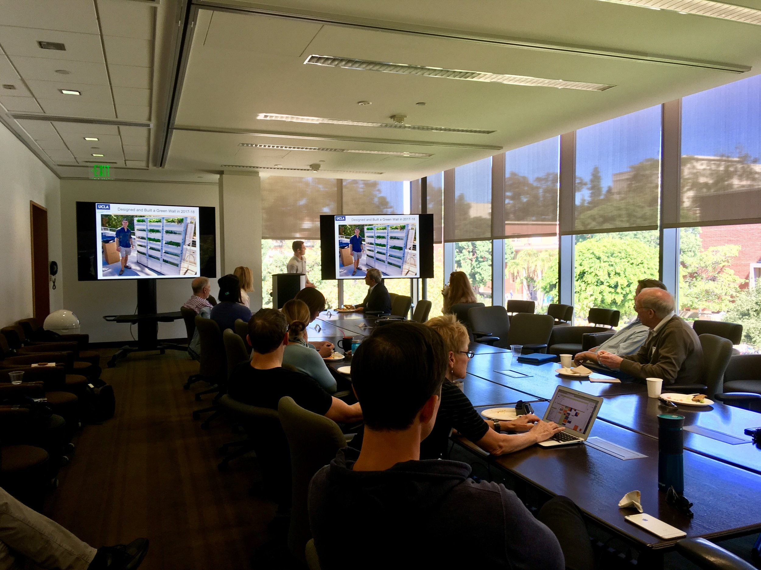 October 16, 2018: Riley Kuffner (Bruin Home Solutions) hydroponics presentation at INFEWS Faculty Meeting