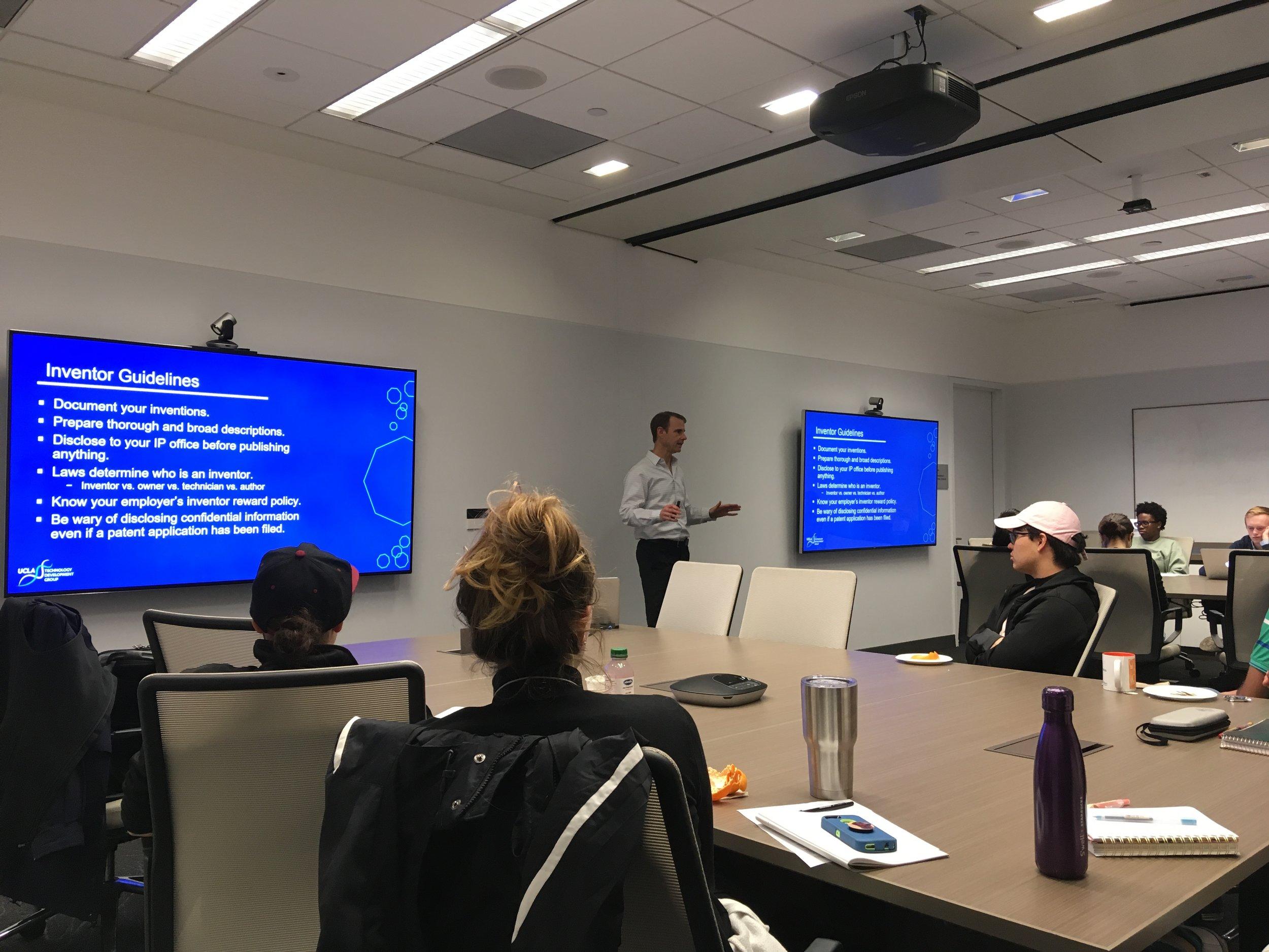 "January 31, 2019: Brown Bag Seminar on ""Intellectual Property Basics"" with Ed Beres (UCLA TDG)"