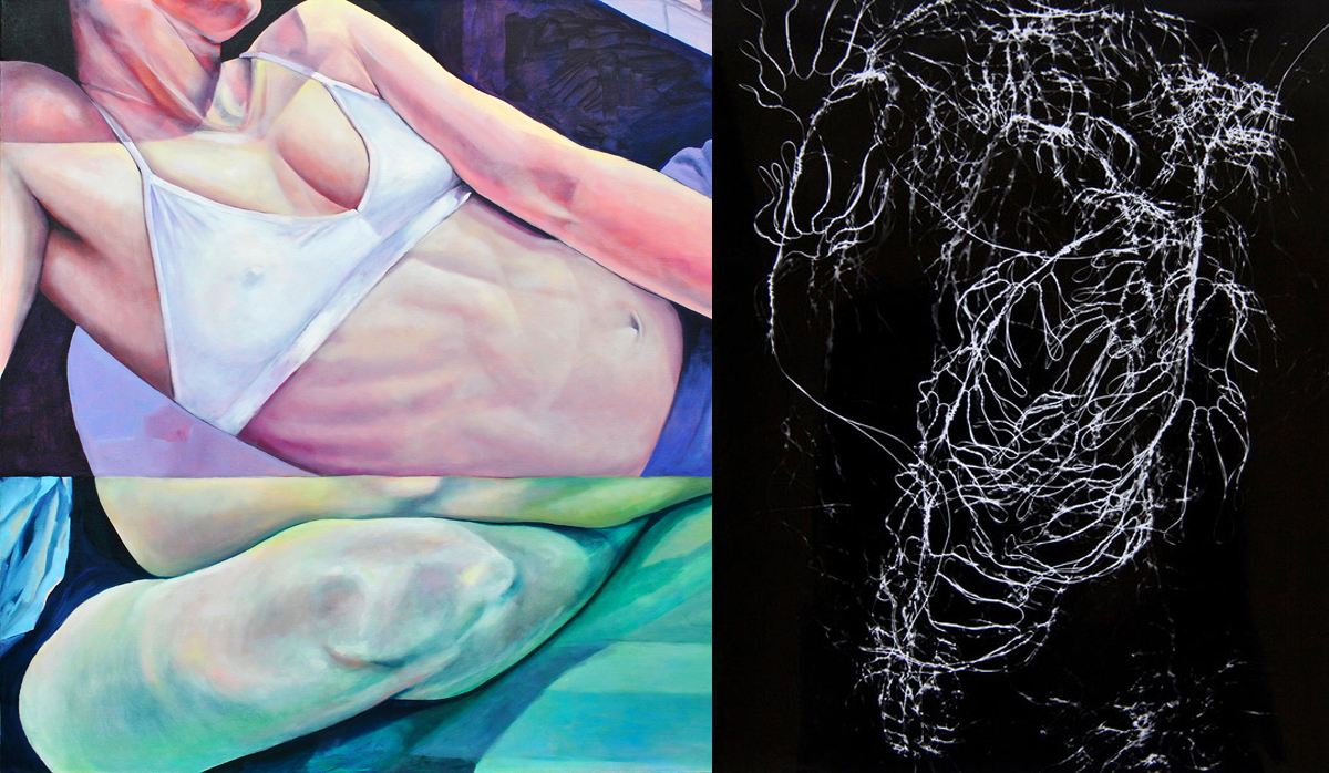 "(left) Nicole Ida Fossi, Self, Reflection, oil on canvas, 40x40"" 2018. (right) Julie Koehler. Weightless. Photogram. 10 in x 8 in"
