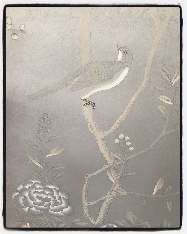 Detail of the Earlham design by @degournay. Handpainted on silk - the photo doesn't do it justice.  #handpaintedwallpaper #chinoiserie #bird #luster #silver #degournay #earlham #interiordesign #wallcoverings #wallpaper #masterbedroom #handpaintedsilk