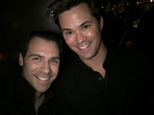 Celebrating with Andrew Rannells following The Lopez's Concert at Lincoln Center