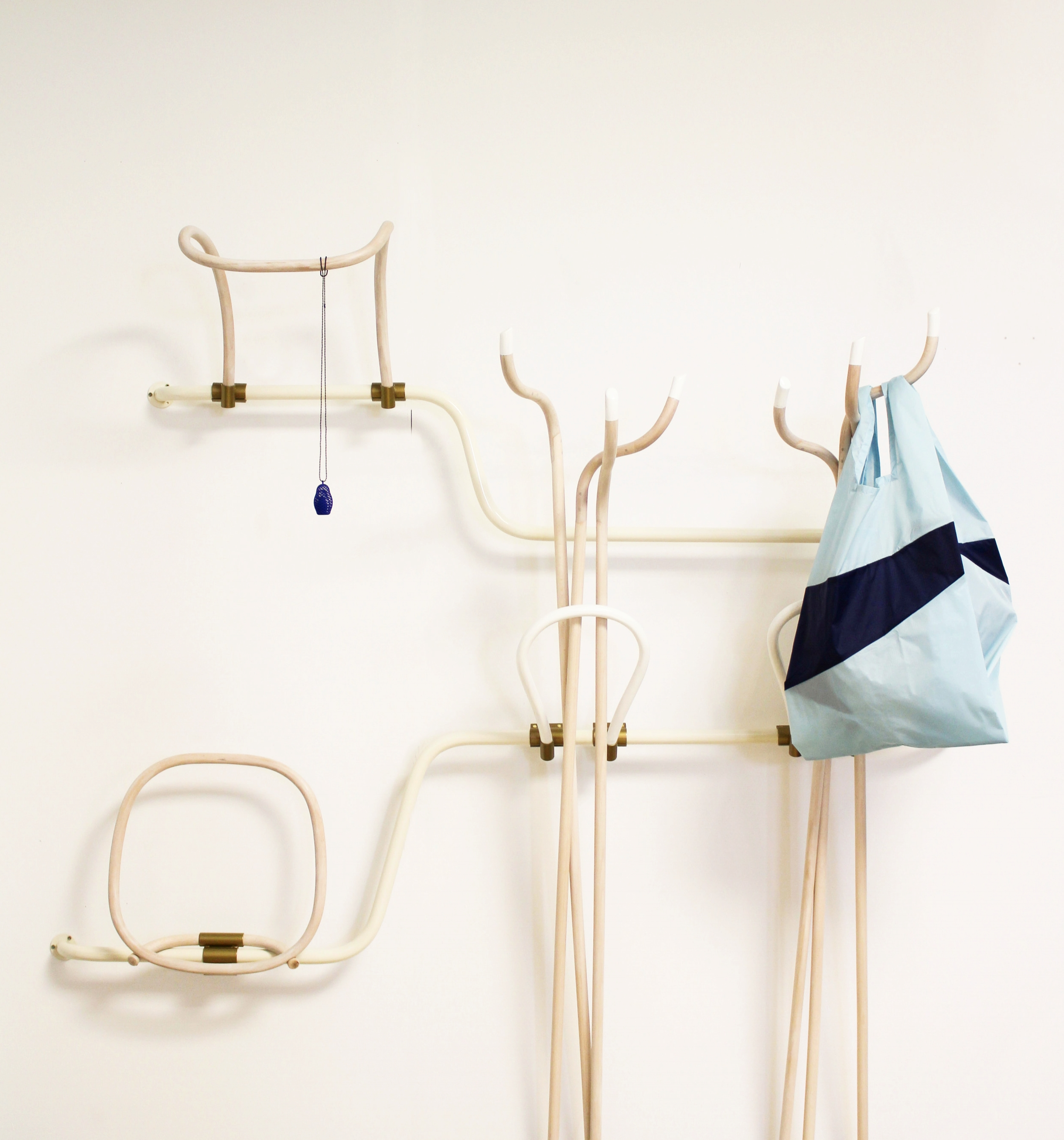Wall elements combined from the waste after production of bending furniture.  Paget Meble and Satelliet Moebelen