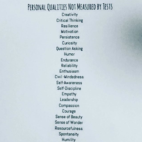Personal qualitites not measure by tests, as shown as the Go Creative conference.
