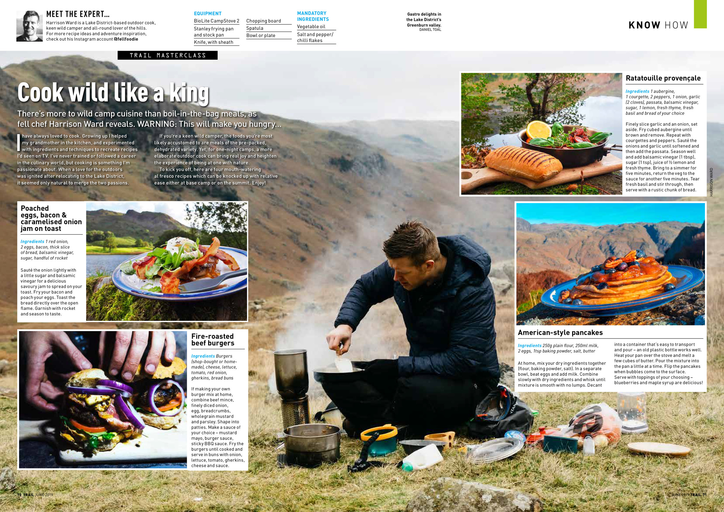 Trail Magazine: Words by Harrison Ward (Fell Foodie), Background image and bottom left image by myself.
