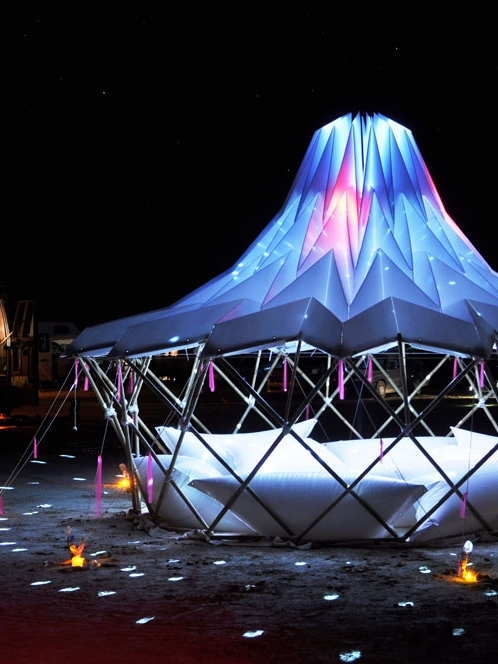 Yurt   (2010) A foldable and airy shade structure that was FoldHaus' first piece created for for Burning Man and became the foundation of its future art works.   (more details coming soon)