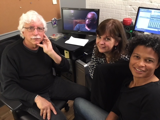 Co-director and DP, Tom Hurwitz, Editor, Ann Collins, and Co-Director and Producer, Roz LeBlanc in the editing room.