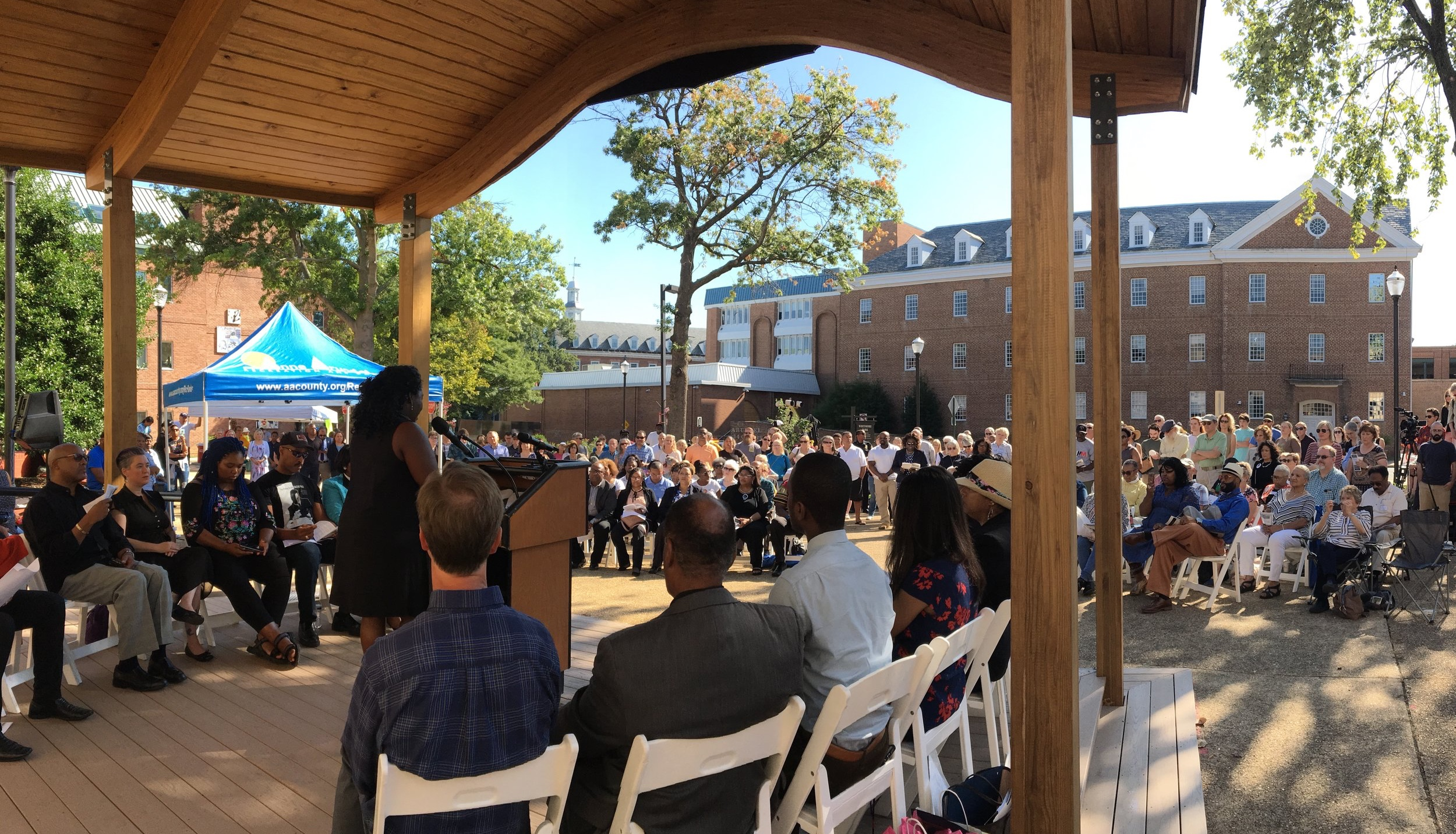 on September 7, 2019 Connecting the Dots: Anne arundel county co-chair monica lindsey addressed the crowd gathered for the dedication of eji historical marker commemorating five known terror lynchings in the county.