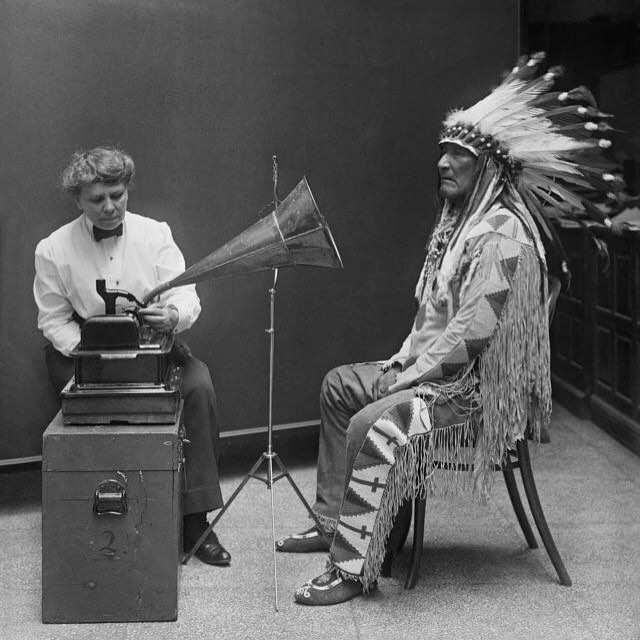mountain chief of piegan blackfeet making phonographic record at smithsonian (feb 1916)