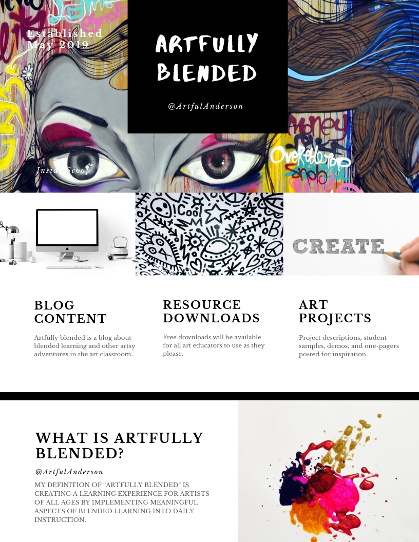 "#ArtfullyBlended  - Explore my most recent creative project;""Artfully Blended."" In this blog I will document my journey of blended learning implementation in the art room while providing helpful resources, information, and tangible strategies to help other art educators do the same."