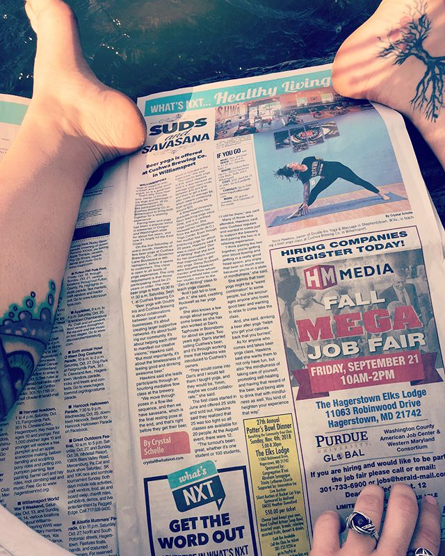 SUDS AND SAVASANA! Pick up a copy of @heraldmailnews for the story on Beer Yoga with @doubleirisyogaandmassage and @cushwabrewing ! Get your beer yoga tix for this Saturday the 1st of September 10:30-11:30am, beer included! Only $14! Join me all night tonight 5-close in my section @danstaphouse for @caduceuscellars and @merkinvineyards wines by Maynard James Keenan. Get your Smoky Iris cocktail discounts before summer cocktail list is over! Make your private yoga lesson, massage, and consultation appointments @doubleirisyogaandmassage today! #massagetherapy #doubleiris #pryingopenmythirdeye #cushwabrewing #doubleirisyogaandmassage #yoga #beeryoga #collaboration #buildingsupportivenetworks #cushwabrewing #heraldmailmedia #newsstoryoftheday #dansrestaurantandtaphouse #grateful #feelgood #healthyliving #fun #lifeiscool #caduceuscellars #merkinvineyards #wine #smokyiris #visionmanifestation #visionaryart #visionaryhealing #sudsandsavasana