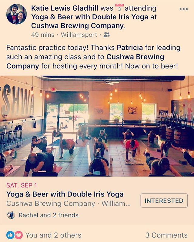 Thank you, Katie, for the review!  See you next month for beer yoga with @doubleirisyogaandmassage and @cushwabrewing ! #beeryoga #cushwabrewing #pryingopenmythirdeye #doubleiris #yoga #massagetherapy #stretchflowgo #doubleirisyogaandmassage #vision #gratitude