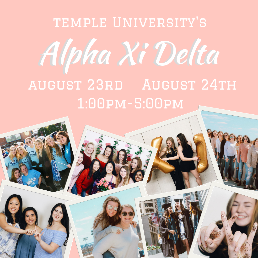 Alpha Xi Delta Temple Fest Social Media Graphic