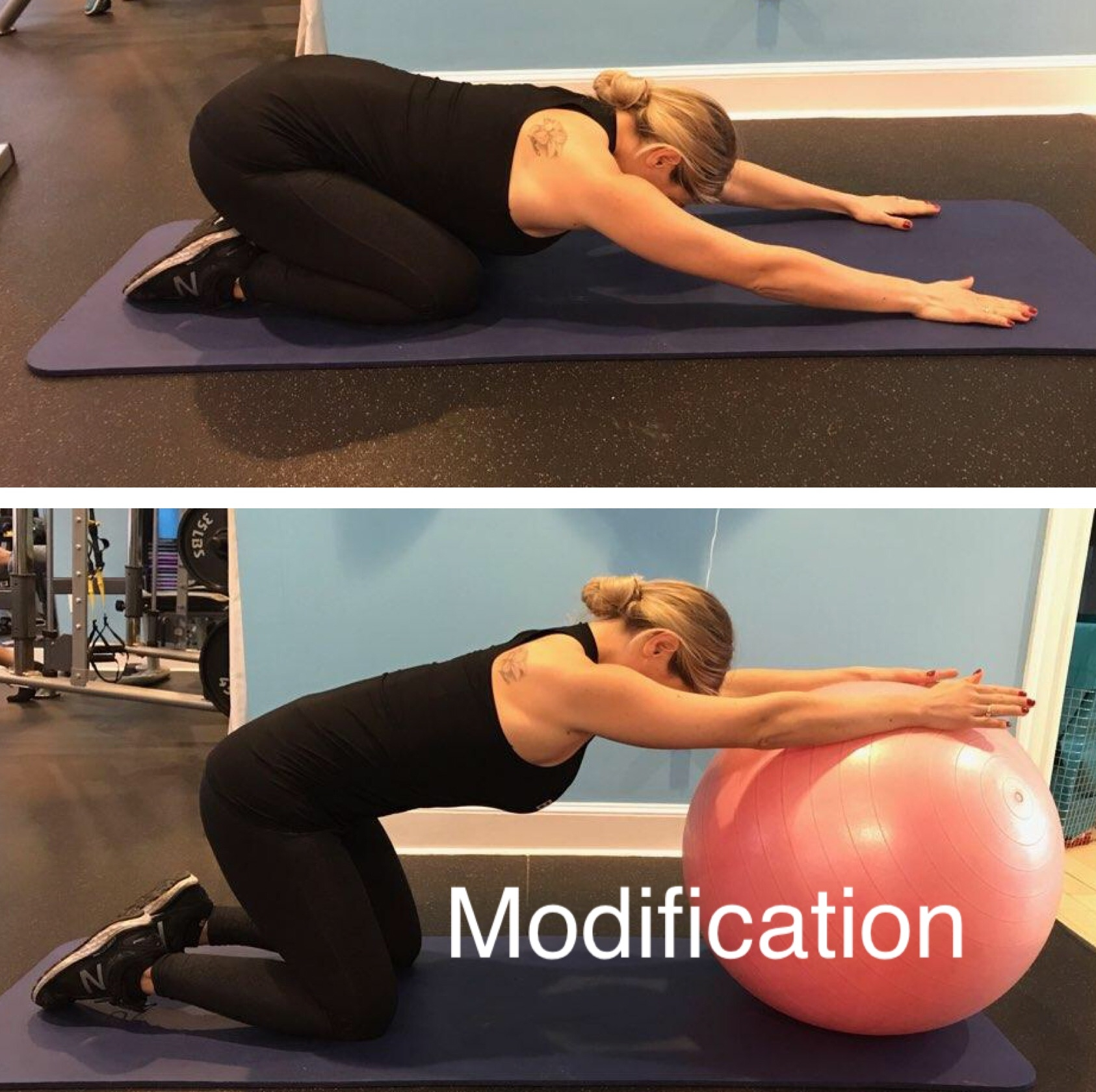 STRETCH 1: CHILD'S POSE WITH OR WITHOUT STABILITY BALL
