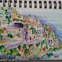 Driving the Amalfi Coast in watercolor