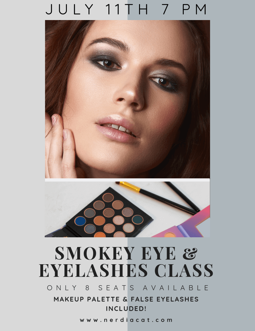 SMOKEY EYE & EYELASHES CLASS - Have you ever tried to achieve the sultry smokey eye look but the end result turns out to be a black mess of eye shadow? Well not anymore! In this class you will learn how to blend, apply, and accentuate your eyes with a darker eye shadow palette you can take home. You will also learn how to apply false eyelashes that will amp your perfect night out look! Sign up today as there are only 8 seats available!Click here for more informationClass taught at the Annex Coworking 6330 De Zavala Road #114 San Antonio, TX 78249