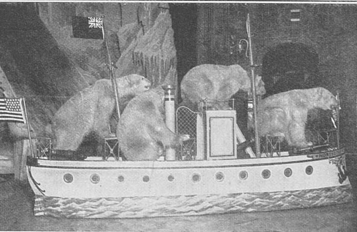 For the Christmas of 1909, in a twice daily attraction called 'The Arctic', 70 Polar Bears were brought into the Hippodrome where some would plunge from icebergs into the water whilst the remaining animals clambered around a deserted ship.