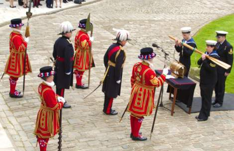 There is a law in place which requires Royal Navy ships, that enter the Port of London, to provide a barrel of rum to the Constable of the Tower of London. Although not enforced today it is marked by an annual ceremony where the Royal Navy moors one of its ships and the Captain delivers his alcoholic tax.