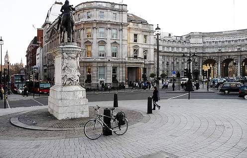 Today road sign distances to London are measured from a plaque in the ground by the statue of King Charles I in Trafalgar Square.