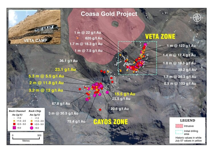 Figure 2: Coasa Project Sample Distribution (recently released assays highlighted in yellow)    Top ten select channel and rock samples for the Veta and Cayos Zones July 7, 2020