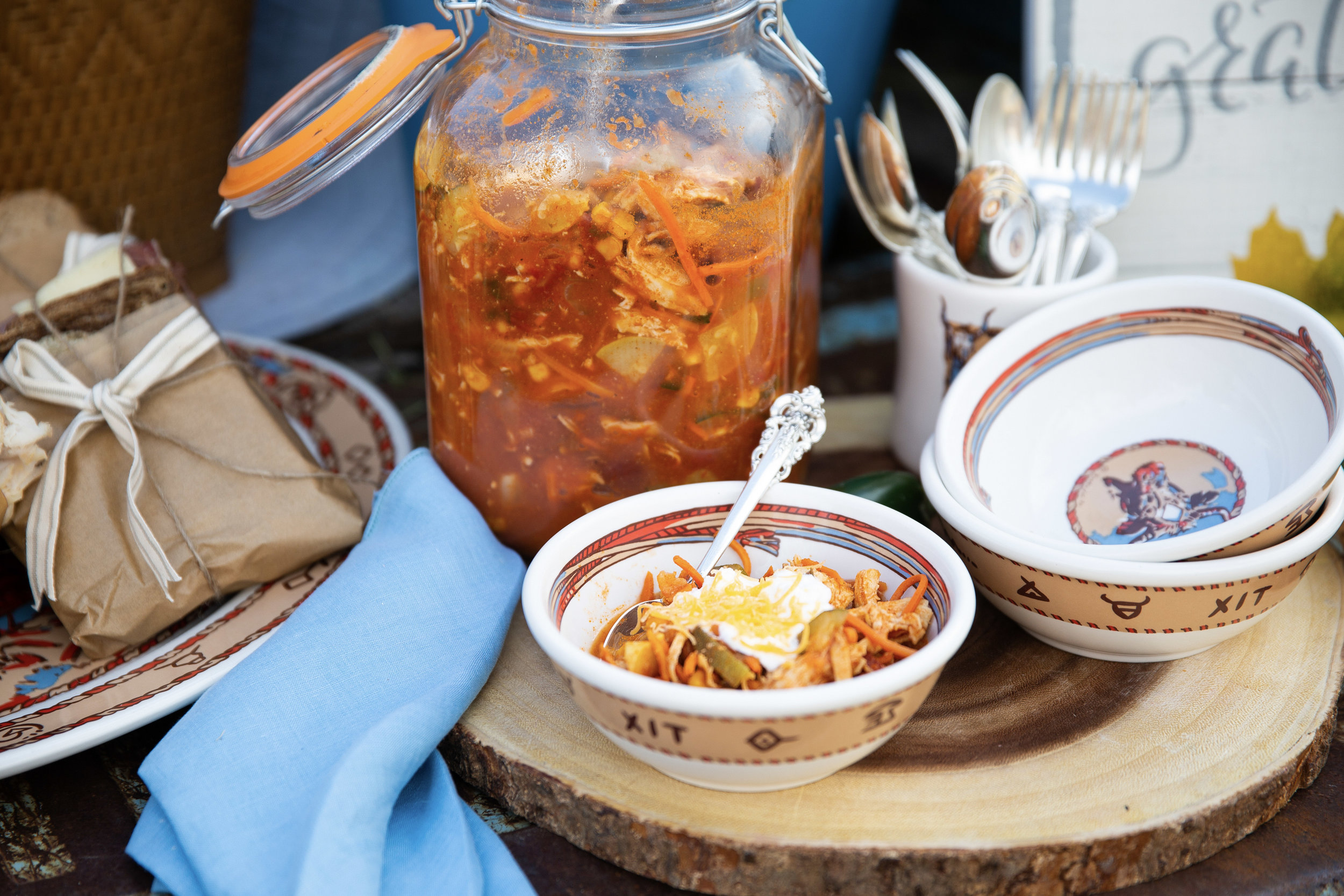 Tortilla soup with the fixin's styled with these retro Chuckwagon by Wallace dishes.  PC @lindleyrustphoto