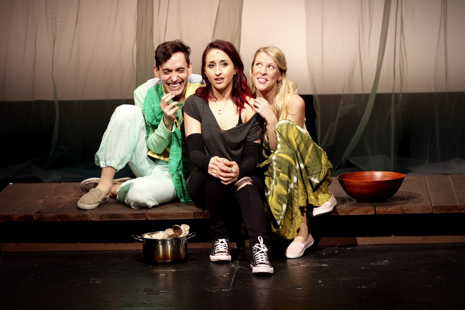 Jacob Hoffman (Derekh), Samia Mounts (Raina), Cali Elizabeth Moore (Harmony). New York Musical Festival. Photo: Karen Shih.