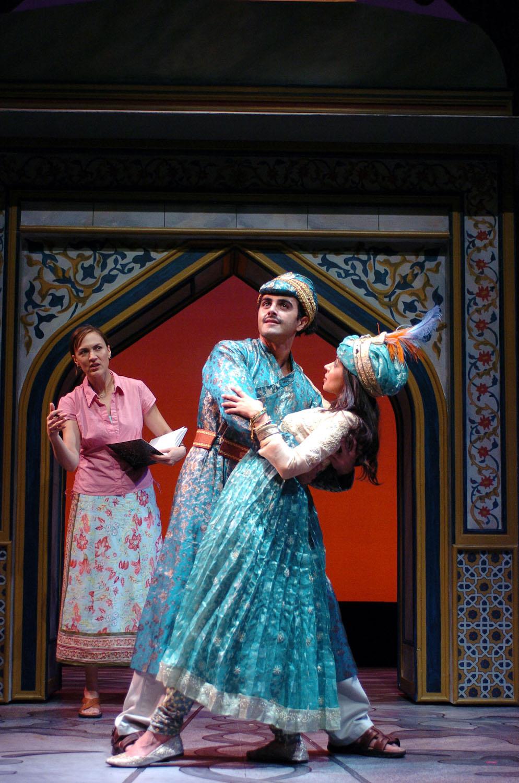 Back: Lesley Fera (Rachel). Front: Samir Younis (Abhi), Kavita Matani (Nur Jahan). TheatreWorks. Photo: David Allen.