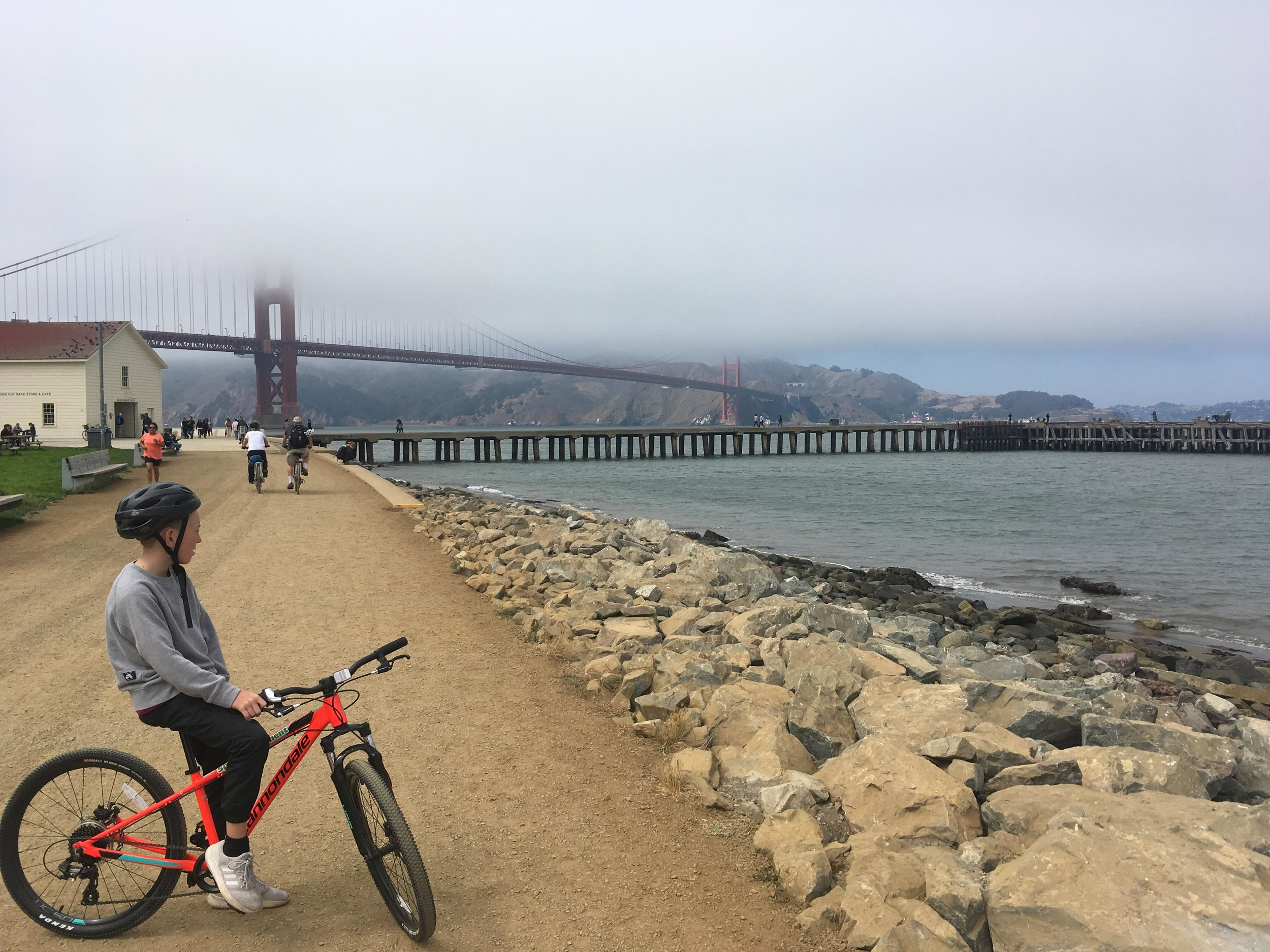 Aidan taking in the views during our bike ride across the Presidio.