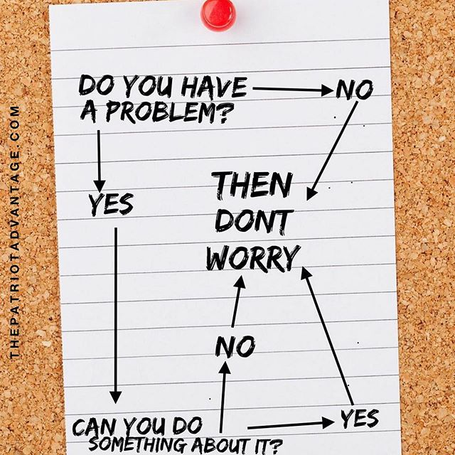 problem solving 101: sometimes it really is that simple. live more & worry less. 👌🏻😎 #tiptuesday . tag a friend! . #thepatriotadvantage #personalassistant #virtualassistant #remotejobs #problemsolving #worryless #appreciatewhatyouhave #problemflowchart #wheresdarby