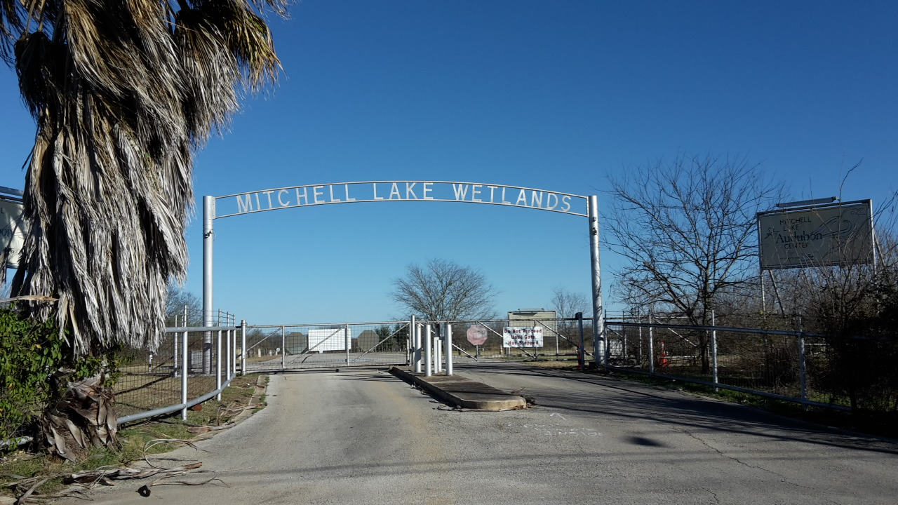 Entrance gate to Mitchell Lake Audubon (Photo: Alyssia Church)