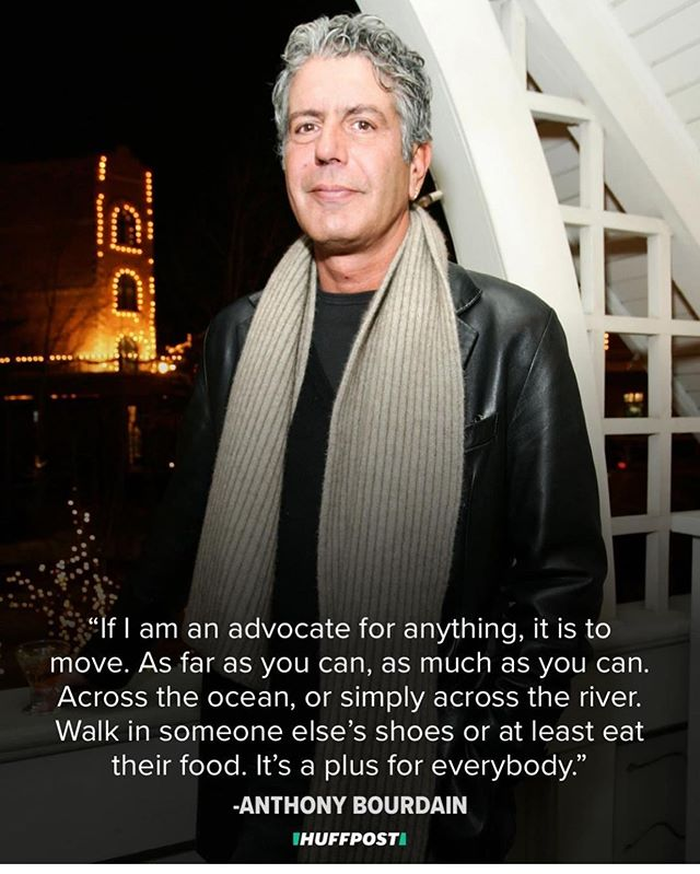 "I've been thinking a lot about #anthonybourdain these past few days. I often think of my heroes and what they've done especially after some time since they've passed. I think of all the things he gave us and not in regards to food, though he did A LOT in that area, what I keep going back to is all he's said and done in regards to letting us into other peoples cultures. I'll admit the conversations and the scenic views were my favorite part about his series. I think we should all take a bit of Anthony's message with us today and every day and be a little bit more inclusive. We should get to know others and their cultures and lifestyles before we judge. We should learn about what makes people who they are because I'm seeing a lot of hate because we as people have gotten lazy. So many of us are losing that ""getting to know you, getting to know all about you""  quality which makes life so interesting. Imagine if instead of fighting with our neighbors or calling for acts of aggression towards a group we don't like because we don't understand them, we try coming to the table and making an effort to know each other, really know each other. Life is so interesting and so worth living when we're being inclusive and kind and really putting an effort into knowing one another. We talk about social media being so great because it makes the world a little bit smaller. Well if that's the case, let's escape our comfort zones and ask people about themselves and if food somehow gets involved than even better. Learn from Anthony, he was pretty extraordinary and his teachings should live on. ✌🏻❤️"