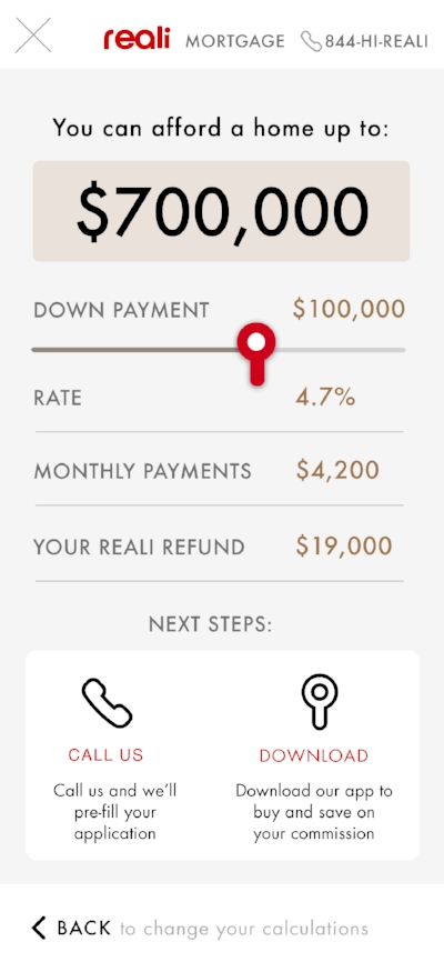 Real.com mortgage calculator flow. Mobile.