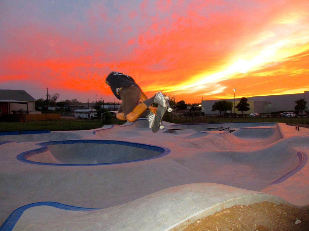 Billy skating at the Fredericksburg, Texas Skatepark