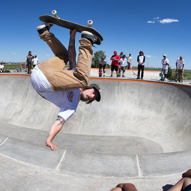 """Kevin Kowalski hand plant in the """"Big O"""" Bowl"""