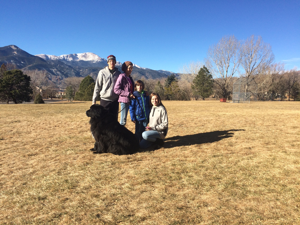 The Spiker family (left to right): Lance, Bonnie, Van, Alayna, Reggie (bear-dog) in their new home in Colorado Springs
