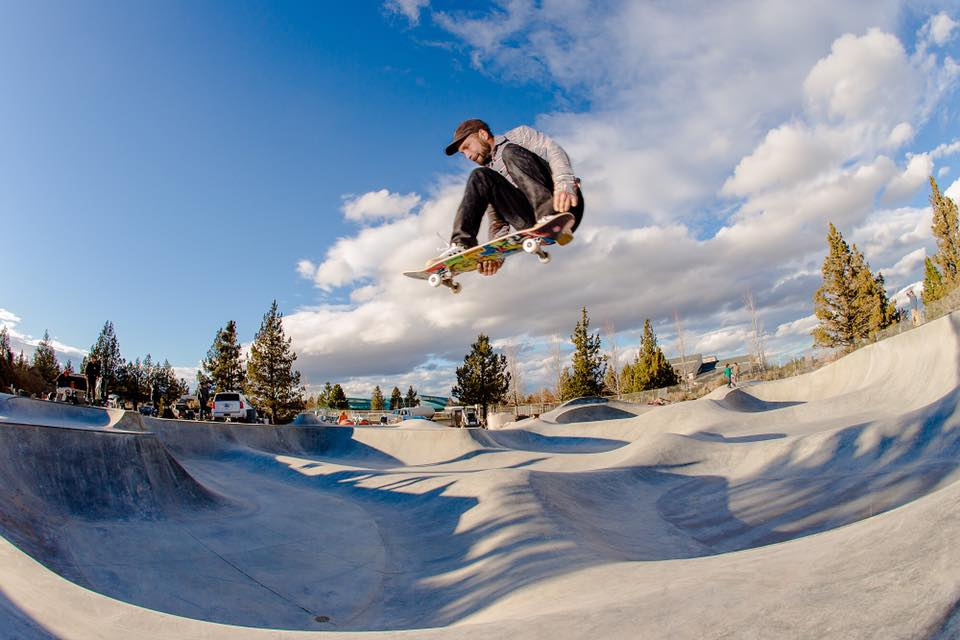 Boss man Billy Coulon with a mean lean melon at the Rockridge Skatepark in Bend, Oregon