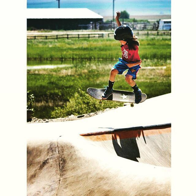 Local Blackfoot skater Shaylee catching some air at the Thunder Park