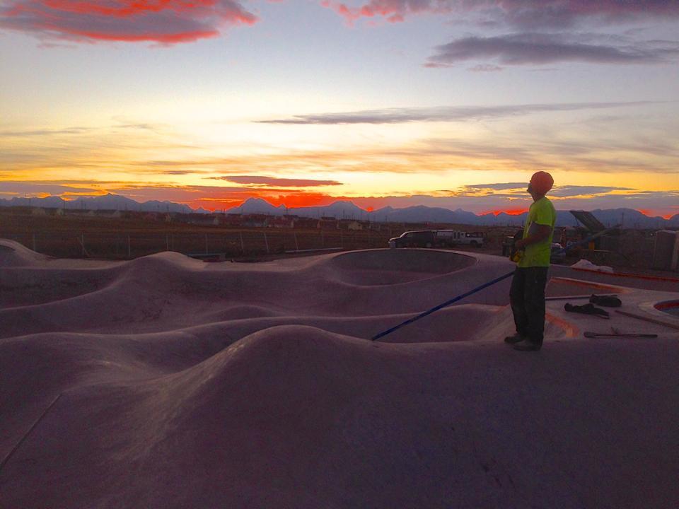 Sloan Palder working on the Thunder Park at sunset