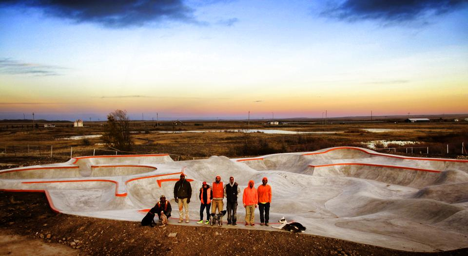 Our amazing Evergreen Skateparks' crew from left: Jasper Kahn, Justin McDowell, Catherine Coulon, Billy Coulon
