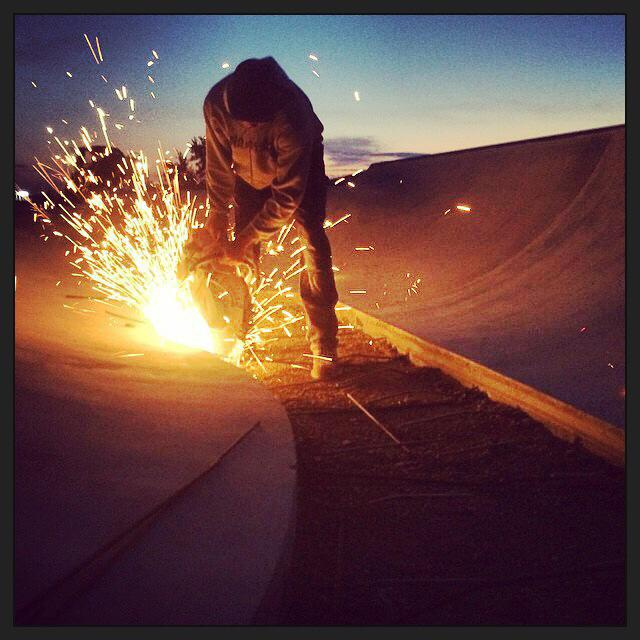 Richie Conklin cuts concrete at sunrise