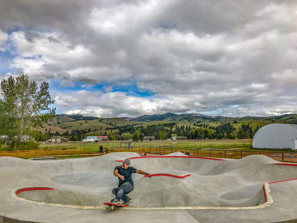 Ben Hlavacek does some test runs at the Darby, Montana Skatepark