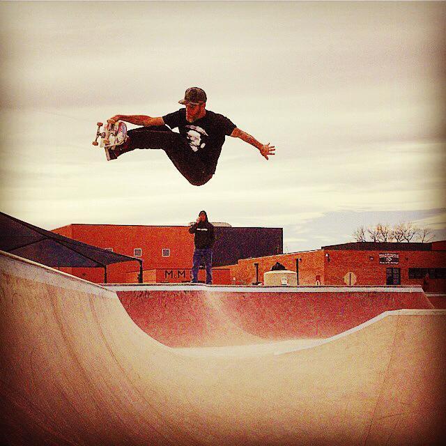 Wrex Cook blasting at the Milliken, Colorado Skatepark