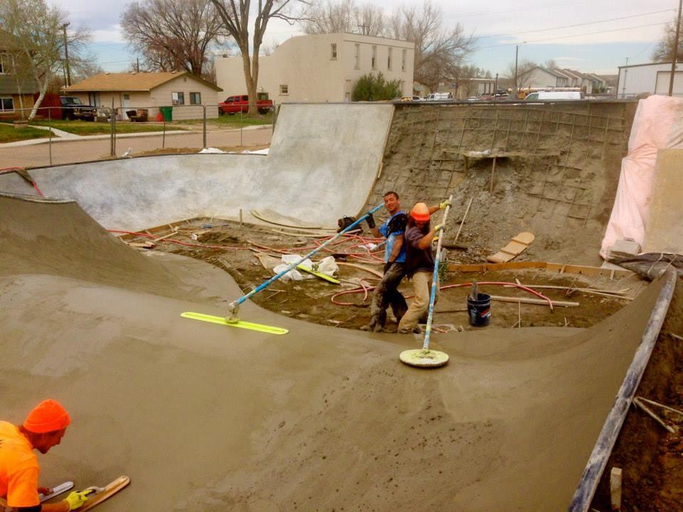 Jesse Clayton, Tavita Scanlan & Jasper Kahn working on the Milliken, Colorado Skatepark