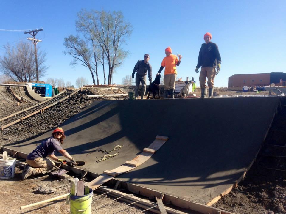 Jasper, Tavita, Joy the Dog, Jesse, Noot the Dog & Richie working on the Milliken, Colorado Skatepark