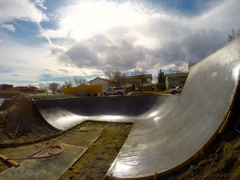 First concrete pour at the Milliken, Colorado Skatepark