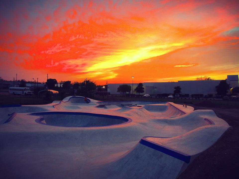 Fredericksburg, Texas Skatepark at sunset