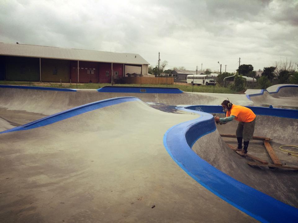 Detail work at the Fredericksburg, Texas Skatepark